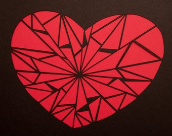 Abstract Cut Paper Heart Original