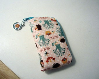 SALE-Ziparound IPhone Case With 2 Pockets - Kuwaii Fabric Hedgehogs