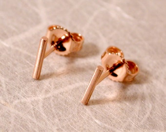 7mm x 1mm Solid 14k Brushed Rose Gold Studs 7mm Pink Gold Bar Earrings by SARANTOS