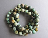 Longer Length Jasper Necklace, Hand Knotted Necklace, African Turquoise Beaded Necklace