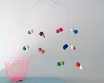 felt ball modern mobile handmade by Puka Puka in rainbow colours/nursery decoration