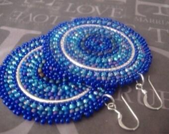 Beaded Disc Earrings - Big Bold Bright Blue Multicolored Seed Bead Earrings - Handmade Beadwork Jewelry