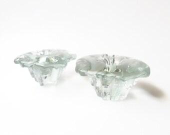 Modernist Scandinavian Clear Glass Candlesticks