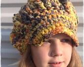 Newsboy Cap Yellow Handmade Hat Crochet Beanie Dread Hat Hippy Boho Style Hat Vegan Gift
