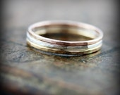 Hammered skinny stacking ring in sterling silver or gold filled