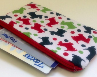 READY TO SHIP - Zippered Coin Purse Wallet - Fabric Business Card Holder - Red Green Scotty Scottie Dogs