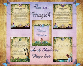 Faerie Magick Digital Book of Shadows Pages - Set of 5 - Witch's Grimoire, Kitchen Witch Recipes, Offerings, Earth Spirits, Wicca, Pagan