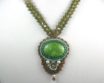 Green Bead Embroidered Gaspeite Necklace