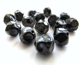 Baroque Jet Black Czech Glass Nugget Beads with Rustic Picasso Finish, 9mm - 15 pieces