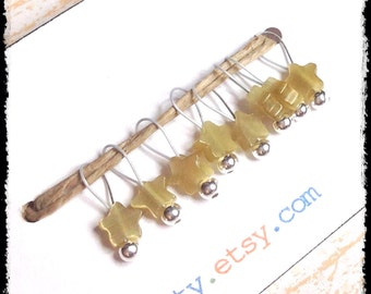 Snag Free Stitch Markers Extra Small Set of 8-- Yellow Cats Eye Glass -- J1 -- For up to size US 4 (3.5mm) Knitting Needles