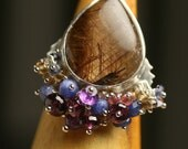 Brown Rutile Cocktail Ring with Sapphire and Rhodolite Garnet Fringe