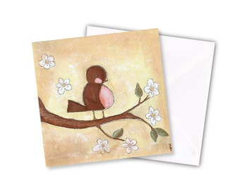 New Baby Card - Spring Robin print blank inside 5 x 5 inch (127 x 127 mm)