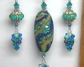 Handmade Artisan Lampwork Glass Earrings and Pendant Set in Blue and Green SRAJD