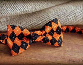 Boys Halloween Bow Tie - Orange Black cotton diamond argyle print bowtie, baby, toddler, child, kid bow tie   fun bow tie   pre-tied bow tie
