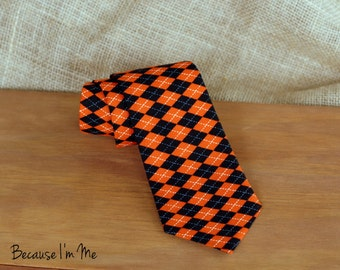 Mens Necktie - Awesome orange and black diamond print cotton neck tie, Traditional Self-Tying tie for men and teens