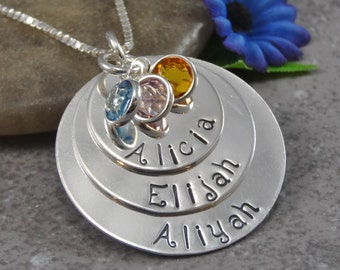 Hand Stamped Jewelry - Personalized Jewelry - Mother Necklace - Sterling Silver Necklace - Three Names Three Birthstones - Triple Stack