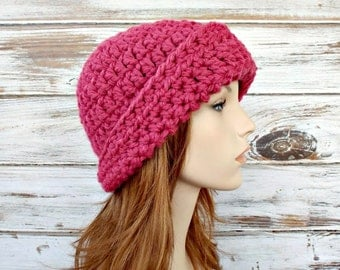 Raspberry Pink Cloche Hat Crochet Hat Womens Hat Pink Hat Pink Beanie 1920s Flapper - Garbo Cloche Hat - Womens Accessories
