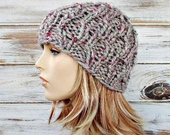 Chunky Knit Hat Womens Hat Amsterdam Cable Beanie in Shadow Frost Pink Grey Knit Hat - Grey Hat Grey Beanie Womens Accessories Winter Hat