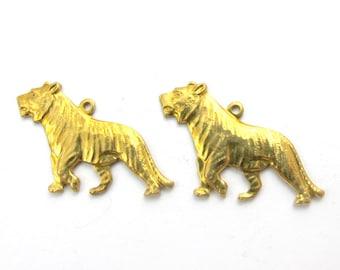 Raw Brass Tiger Charms (2X) (M531)