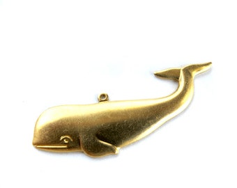 Brass Whale Pendants (2X) (M702)