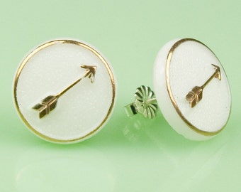 Vintage 1940s Milk Glass with Gold Arrow Post Earrings