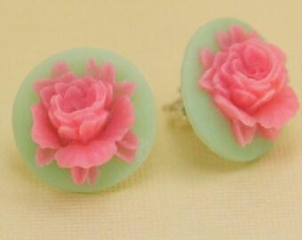 Pink Rose on Jade Green Flower Post Earrings
