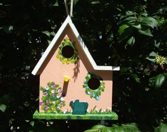 Handpainted Birdhouse - Two Openings - Large - Wooden