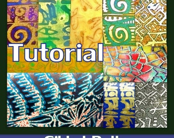 Polymer Clay Tutorial - Gilded Paths Techniques Gilding Polymer clay stamping resists mica and more - Instant PDF Download