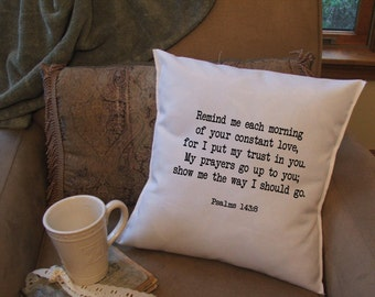 encouraging bible verse decorative pillow cover, psalms 143:8