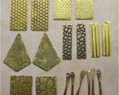 Handmade Textured Brass Earring Components -  18 pieces - DIY Jewelry Making
