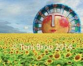 Smiling sun rising over sunflower field, broadcast on CBS Sunday Morning (Giclee print)