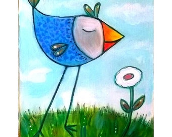 """Blue Birdie """"Stop and smell the Roses"""" print"""