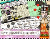 ART TEA LiFE Journal Parts and Paper Dolls Collage Sheet digital file decoupage clip art scrapbook journalling page