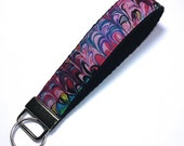 FREE SHIPPING UPGRADE with minimum -  Key Lanyard - Key Fob - Fabric Key Ring -- Psychodelic Purples