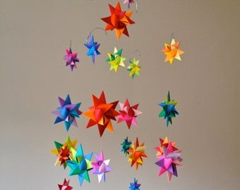 Modern Baby Mobile Hanging Origami Stars -'Constellation' Rainbow
