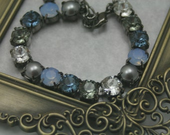 Twilight Storm Blues Greys Swarovski Elements Tennis Bracelet Rhinestone 8mm Necklace Earrings