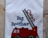 Custom Personalized Boys Firetruck Fireman Big Bigger Biggest Brother Long or SS T shirt Shower Gift Photo Prop