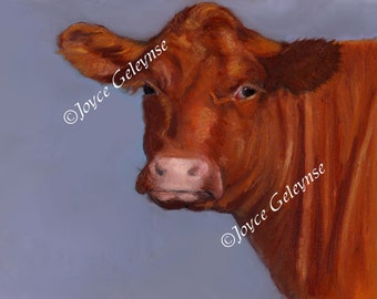Printable Freehand Oil Pastel: Red Hereford Cow in Sunshine, Farm Animal, Beef, Original Art