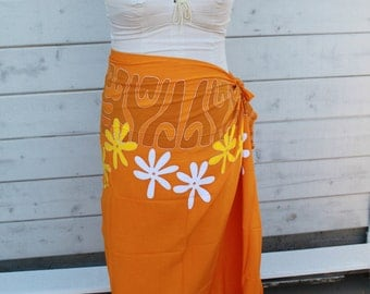 Orange, yellow and white tattoo tiare premium Tahitian pareo-full and half size, Tahitian fabric