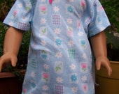 American Girl Doll Clothes - Cotton Knit Nightshirt - Blue Flowers
