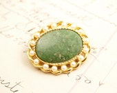 Vintage Pearl Green Gold Marvella Brooch Pin - To Benefit Heart Strings