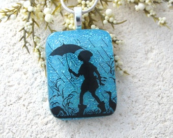 Dichroic Glass Necklace, Dichroic Glass Pendant, Turquoise Necklace, Fused Glass Jewelry, Silver Necklace, Rainy Day Girl, OOAK, 100216p102