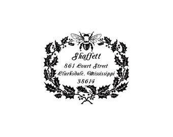 Bee & holly berry wreath Return address custom rubber stamp great for Christmas