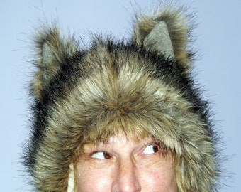 Furry Wolf Hat Ears Tan Brown Black Tipped Really Real Wolf-like Fur Shaman Unisex Adult Costume Fur Hat