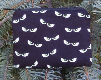Eyes coin purse, stitch marker pouch, gift card pouch, credit card case, Who's Watching?, The Raven