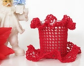 Red Lace Votive Candle Holder, Vintage Inspired Christmas, Holiday Crochet  Room Decor Accessory