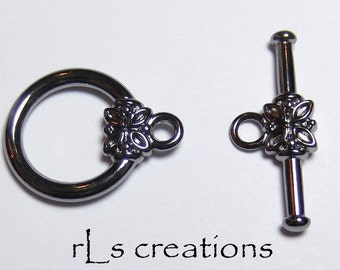 Toggle Clasp with Flower Gun Metal-Plated Brass 14MM - 10 Sets