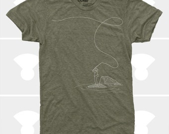 Men's TShirt Fly Fishing (Men), American Apparel S,M,L,XL,XXL, Fishing Outdoorsmen Shirt (4 Colors) for Men