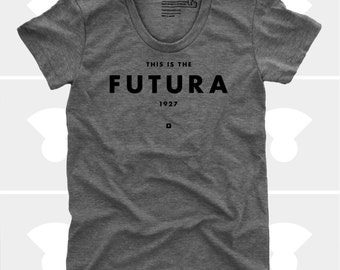 Futura Women's TShirt, Typography Tee Shirt, Womens Top, S,M,L,XL, Graphic Design, Type, Typography, Grey Shirt (4 Colors) TShirt for Women