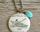 SALE - Kayak - Altered Vintage Glass Watch Crystal Pendant Necklace - Recycled Upcycled - Ready To Ship